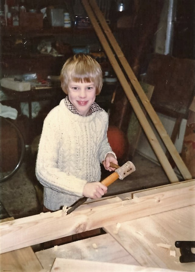My younger brother in his handknit Aran jumper, 1981