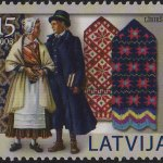 Latvian postal stamp featuring Latvian mittens
