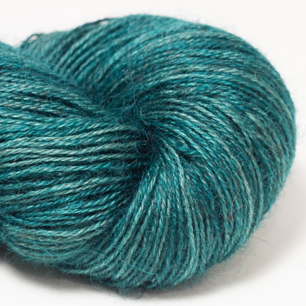 hand-dyed Wensleydale and Shetland yarn, from The Knitting Goddess, custom spun at The Natural Fibre Company