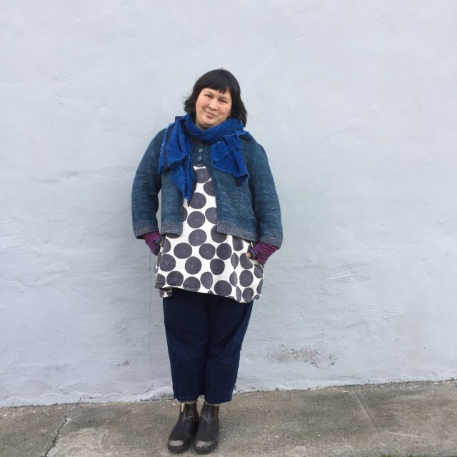 Sonya Philip: New Year's Day edition of #handmadewardrobechronicles wearing an indigo dyed scarf; Cria cardigan pattern by @ysolda; modified #100actsofsewing Dress no. 1; denim pants (own pattern); Blunstone boots