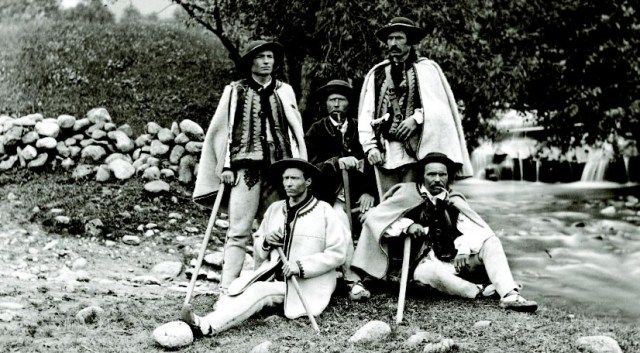Tatra Guides, photo taken approx. 1877., - From left Wojciech Roj, Jędrzej Wal younger, Jędrzej Wala, Simon Tatar and Maciej Sieczka - photo found on Wiki Commons and attributable to Awit Szubert