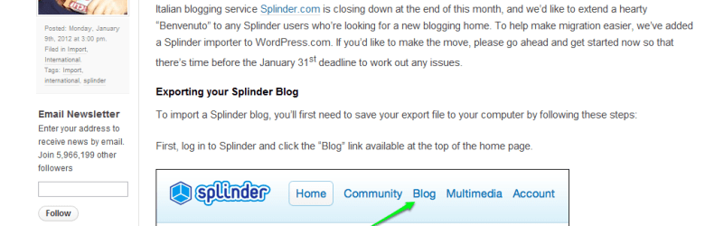 Splinder Importer Now Available WordPress.com