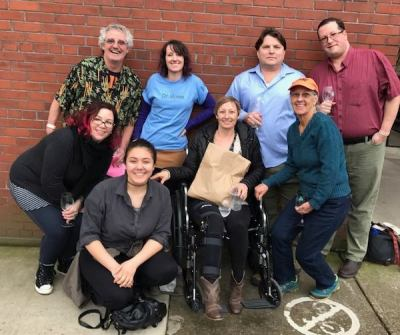 My family, with my sister wearing the Dr. Rosie shirt. It's amazing how many places along the Corvallis wine walk are not wheelchair accessible.