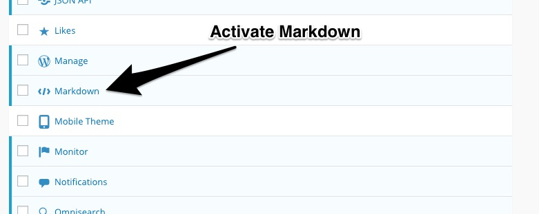 Activating Markdown in Jetpack