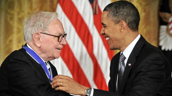 Washington, DC - February 15: President Barack Obama awards the Medal of Freedom to distinguished Americans including Warren Buffett, left, at a ceremony in the East Room of th White House, February, 15, 2011 in Washington, DC. (Photo by Bill O'Leary/The Washington Post)