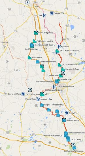 Withlacoochee River Water Trail Map