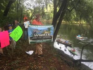 Protesting the pipeline at the Suwannee River crossing...so nice to see lots of kids!