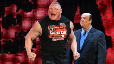 Hours after sending Dean Ambrose to the hospital, Brock Lesnar storms toward the ring.