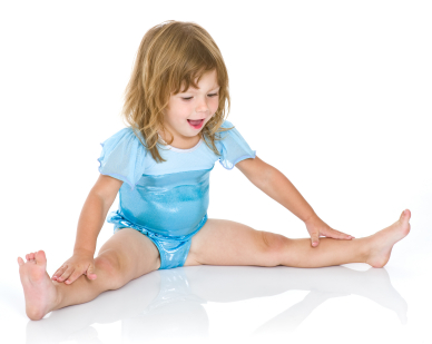 Cute toddler girl doing a split and reaching out for her toes. She's wearing a sporty leotard. Studio shot, isolated on white.