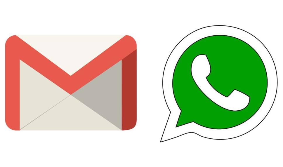 Les logos de Gmail et WhatsApp.