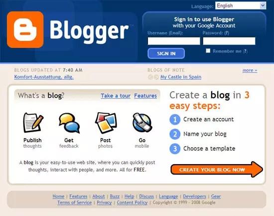 Blogger, υπηρεσία blogging της Google