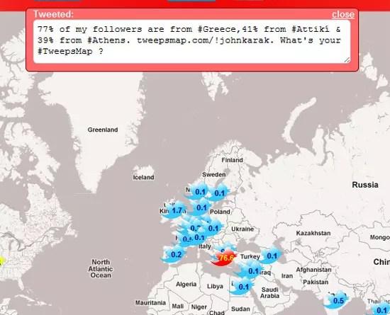 TweepsMap, από που προέρχονται οι followers σου στο Twitter σε χάρτη