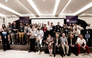 "Eurobank FinTech ""Beyond Hackathon"" Final photo on stage"