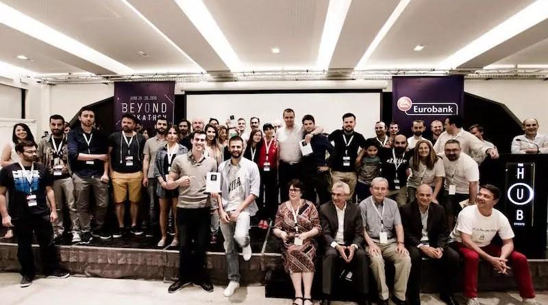 """Eurobank FinTech """"Beyond Hackathon"""" Final photo on stage"""