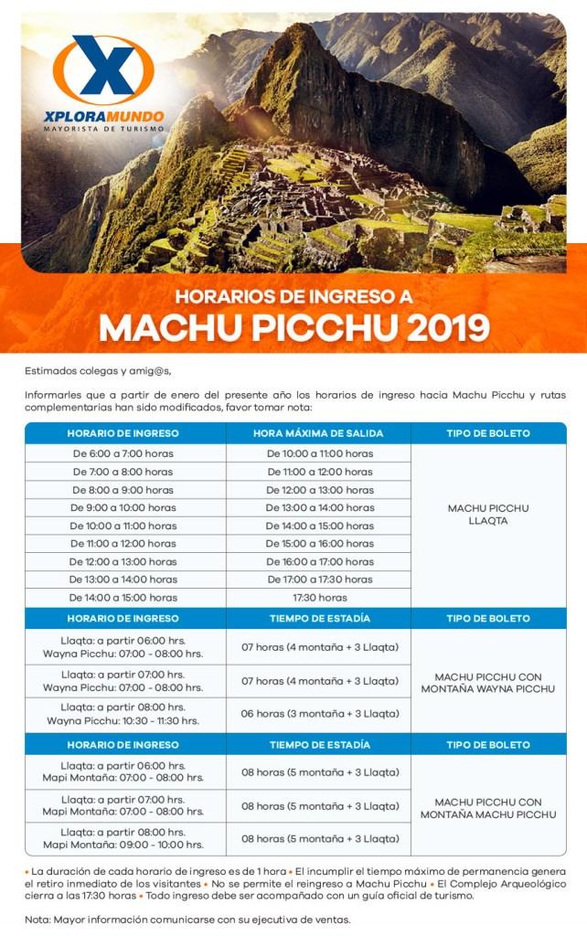 Nuevo Horario Machu Picchu