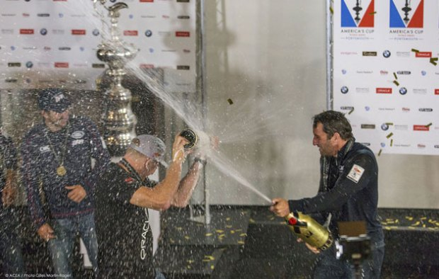 Ainslie showers Spithill in champagne