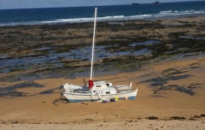 Grounded catamaran