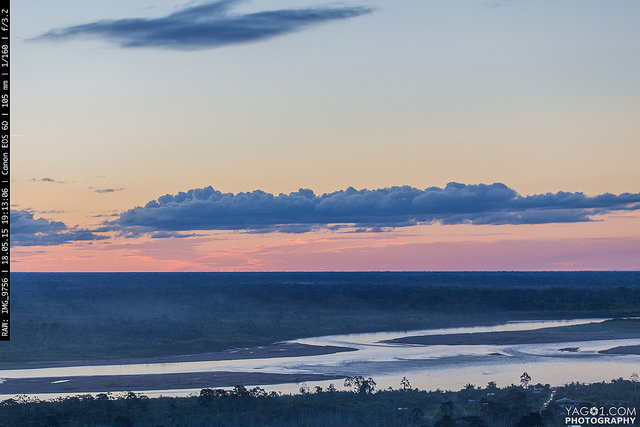 Twilight over the Beni river in Rurrenabaque Bolivia