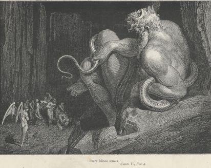 המלך השופט מינוֹס בגיהנום של דאנטה (גוסטב דורֶה, 1832-1883).