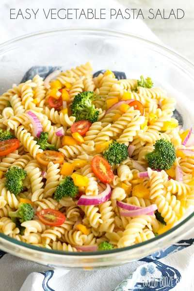 Easy Vegetable Pasta Salad with Italian Dressing | YellowBlissRoad.com