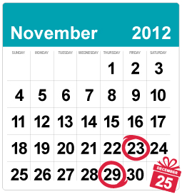 2012 YesVideo Holiday Deadlines, November 23 and 29