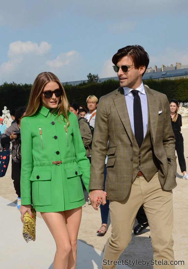 Olivia Palermo and Johannes Huebl at Paris Fashion Week (c) streetstylebystela.com