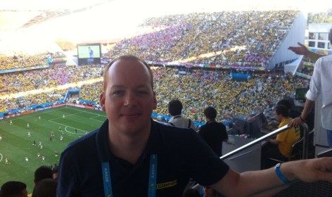 Ben in the press box in São Paulo before the opening game of the World Cup between Brazil and Croatia .