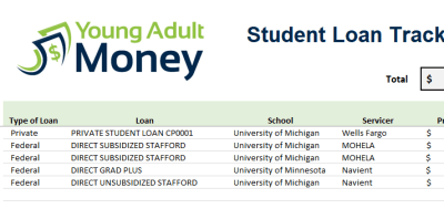 Use this Spreadsheet to Track your Student Loans   Young Adult Money