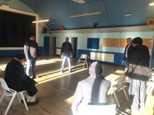 The men's group from Armley Mosque taking part in a strenuous, yet relaxing, Tai Chi session
