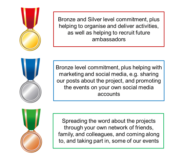 The three levels of commitment for the Community Health and Activity Ambassador Ashleigh and Drew came up with