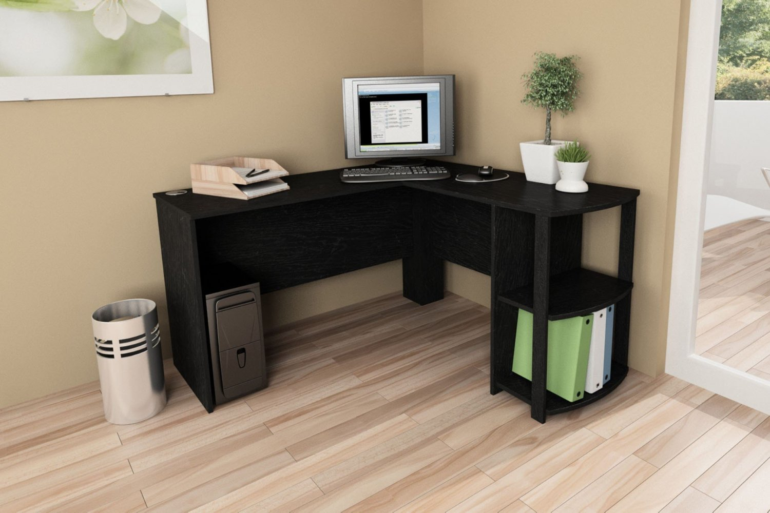 black l shaped desks are always an extremely handsome option and are probably the most commonly purchased color desk for the home office because of this