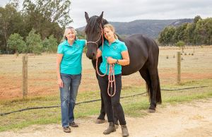 Serpentine Jarrahdale Equine Landcare Group members Karen Miller and Linda Starcevich with Llewella. Photograph — Kelly Pilgrim-Byrne.