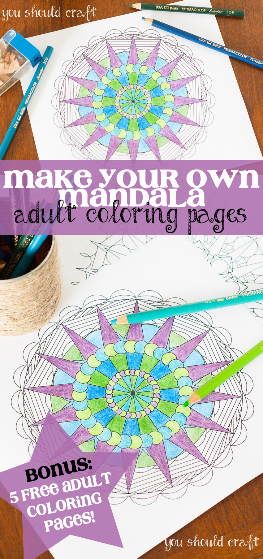 Create Your Own Mandala Adult Coloring Pages | You Should Craft