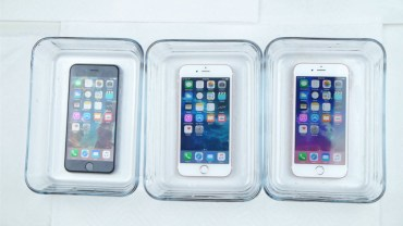 iPhones in various liquids