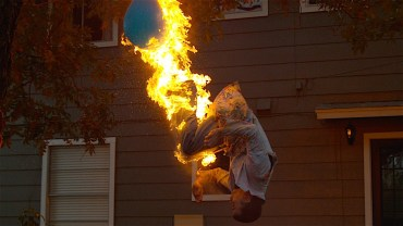 Fire back-flip in slow motion