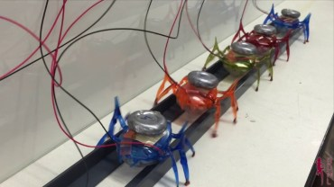 A group of microbots pull a car