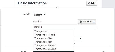 Gender Facebook