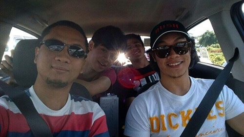 Some of YugaTech team inside Chevrolet Spark going to Batangas for a team outing.