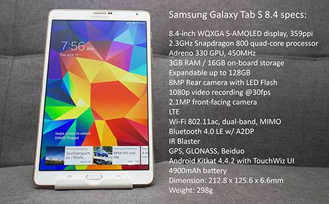 Samsung Galaxy Tab S 8.4 specs