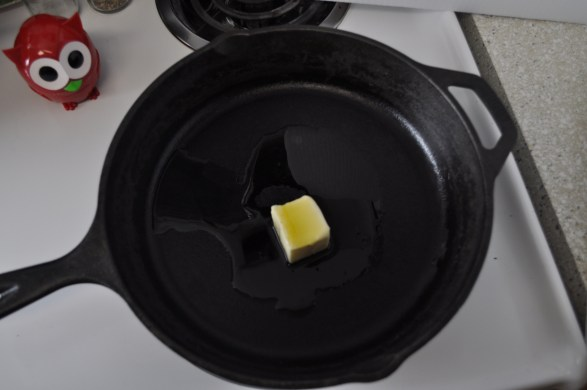 It all starts with butter in an iron skillet