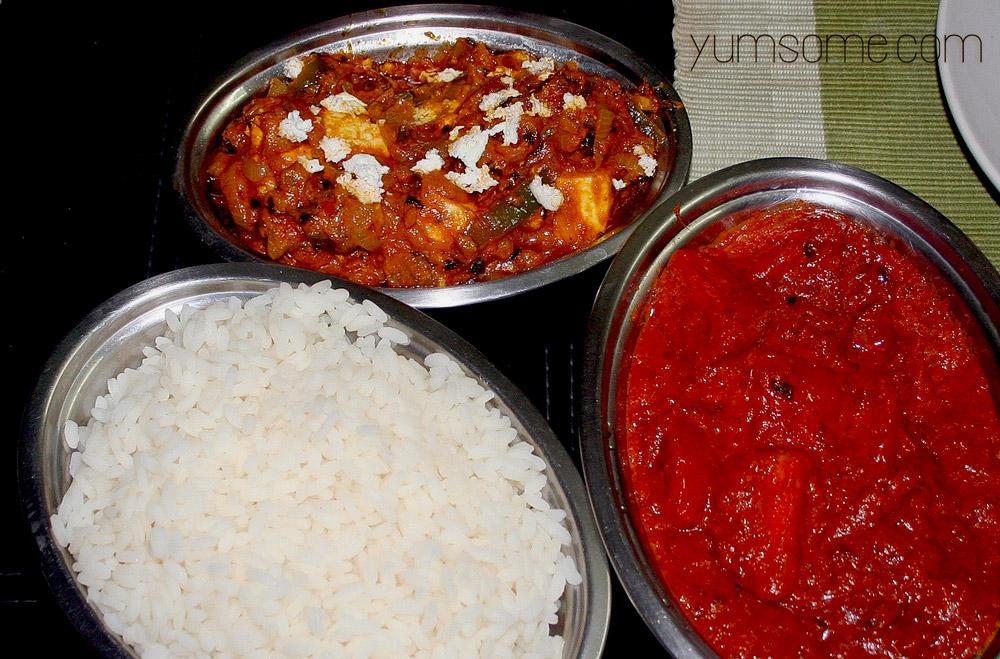 paneer-butter-masala_tomato-masala_kerala-rice