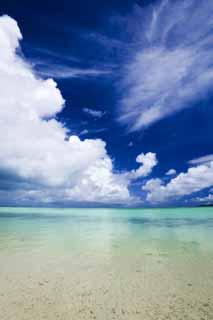 写真,素材,無料,フリー,フォト,クリエイティブ・コモンズ,風景,壁紙,南国ビーチ, 砂浜, 青空, ビーチ, 雲