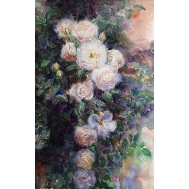 roses, garden, weedenhouse, huntsvillle AL, Downtown Huntsville, Watercolor, Painting