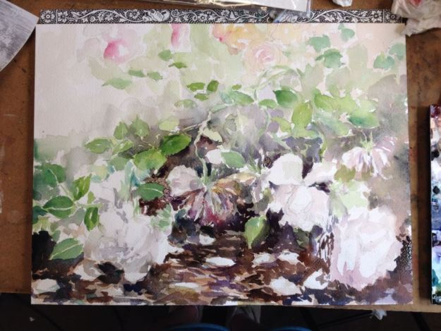 In progress, watercolor, pleinair, the weeded house, garden, rose,
