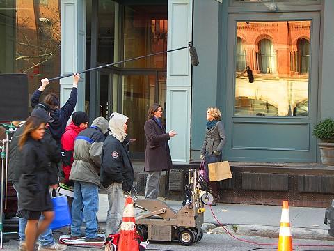 NY- Tribeca- Duane Park- Peter and Vandy movie shoot