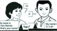 """<p>Él se llama Li Lei y ella Han Meimei, y fueron los personajes que enseñaron inglés a los jóvenes nacidos en los 80. Entre 1990 y 2000, unos 100 millones de chinos estudiaron la lengua de Shakespeare gracias a ellos. En los últimos años, su popularidad se ha mantenido y el semanal <em>Nanfang Zhoumo</em> ha definido sus historias como parte de la """"memoria colectiva"""" de los jóvenes chinos. Hoy precisamente se estrena en Pekín una obra de teatro con su mismo nombre, lo que muestra el éxito de unos personajes de libro de texto que se han convertido en fenómeno social. </p>"""