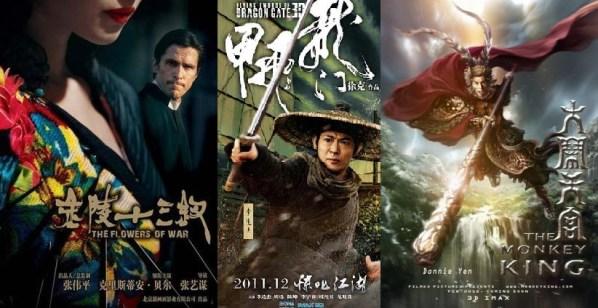 """Tres películas llamadas a copar la cartelera en las próximas semanas: """"Las flores de la guerra"""", """"Espadas voladoras en la puerta del dragón"""", """"The monkey king""""."""