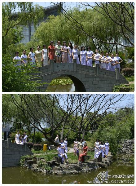 """Vestidas con el tradicional traje chino, el """"qipao"""". En la Universidad de Henan."""