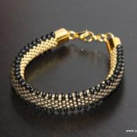 Gąsieniczka czarno złota - sznur szydełkowo-koralikowy