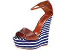 Missoni - Leather/Fabric Combo High Wedge (Blue) - Footwear